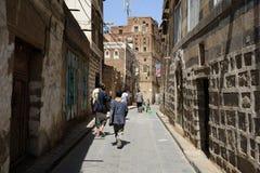 Sanaa, Iémen, o 3 de março de 2013 Cidade velha Arquitetura tradicional imagem de stock