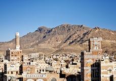 Sanaa, yemen - arquitetura iemenita tradicional fotografia de stock