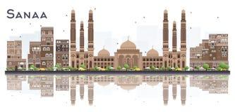 Sanaa Yemen City Skyline avec des bâtiments de couleur et réflexions d'isolement sur le fond blanc illustration stock