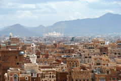 Sanaa, Yemen. Old city of Sanaa the capital of Yemen. View on the city from roof at sunrise Royalty Free Stock Photography