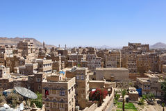 Sanaa, Yemen. Yemen, the old city of Sanaa. Inhabited for more than 2.500 years at an altitude of 2.200 m, the Old City of Sanaa is a UNESCO World Heritage City Stock Image