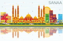 Sanaa Yemen Skyline avec des bâtiments de couleur, ciel bleu et se reflètent illustration de vecteur