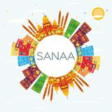 Sanaa Yemen Skyline avec les bâtiments de couleur, le ciel bleu et le PS de copie illustration de vecteur