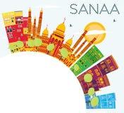 Sanaa Yemen Skyline avec les bâtiments de couleur, le ciel bleu et le PS de copie illustration stock