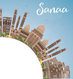 Sanaa (Yemen) Skyline with Brown Buildings and Copy Space. Stock Photography