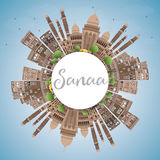 Sanaa (Yemen) Skyline with Brown Buildings and Copy Space. Royalty Free Stock Images