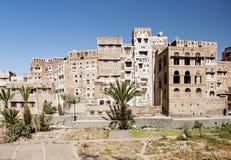 Sanaa, Yemen - traditionele yemeni architectuur stock foto