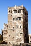 Sanaa, Yemen - traditionele yemeni architectuur royalty-vrije stock afbeelding