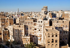 Sanaa, Yemen - traditionele yemeni architectuur stock foto's