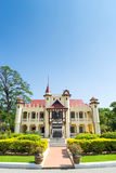 Sanamchan palace in Nakornpathom, Thailand. Was beautiful with contemporary art and was built in King Rama VI reign, under blue sky Royalty Free Stock Photo