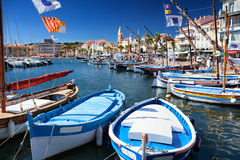 Sanary harbor on the Cote dAzur in France Royalty Free Stock Images