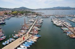 Aerial view of Sanary sur mer village in Provence, France. royalty free stock images