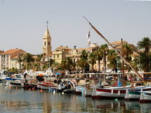Sanary sur Mer. Traditional fishing boats in the port of Sanary sur Mer. France Stock Photos