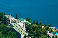 Sanatorium at the sea. The coastline of Herceg Novi, in Monteneg stock photos