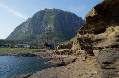 Sanbang Mountain and ship, Jeju, South Korea Stock Photography