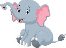 Séance mignonne de bande dessinée d'éléphant Image libre de droits