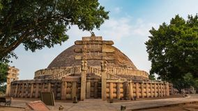 Sanchi, India - circa November, 2017: time lapse Sanchi Stupa, Madhya Pradesh, India. Ancient buddhist building, religion mystery,