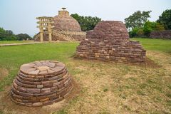 Sanchi Stupa, Ancient buddhist building, religion mystery, carved stone. Travel destination in Madhya Pradesh, India. Sanchi Stupa, Ancient buddhist building Royalty Free Stock Photography