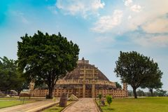 Sanchi Stupa, Ancient buddhist building, religion mystery, carved stone. Travel destination in Madhya Pradesh, India. Sanchi Stupa, Ancient buddhist building Royalty Free Stock Image