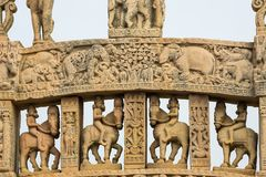 Sanchi Stupa, ancient buddhist hindu statue details, religion mystery, carved stone. Travel destination in Madhya Pradesh, India. Sanchi Stupa, ancient buddhist Royalty Free Stock Images