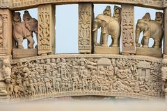 Sanchi Stupa, ancient buddhist hindu statue details, religion mystery, carved stone. Travel destination in Madhya Pradesh, India. Sanchi Stupa, ancient buddhist Stock Photo
