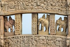 Sanchi Stupa, ancient buddhist hindu statue details, religion mystery, carved stone. Travel destination in Madhya Pradesh, India. Royalty Free Stock Image