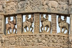 Sanchi Stupa, ancient buddhist hindu statue details, religion mystery, carved stone. Travel destination in Madhya Pradesh, India. Royalty Free Stock Photos