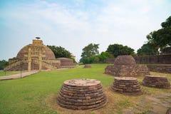 Sanchi Stupa, Madhya Pradesh, Индия Старое буддийское здание, тайна вероисповедания, высекло камень Стоковые Фото