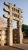 Sanchi stupa. One of the gates of Sanchi stupa, Bhopal Madhya Pradesh Royalty Free Stock Photos
