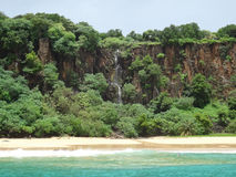 SanchoÂ的海湾或baia在世界上做Sancho -最美丽的海滩 费尔南多・迪诺罗尼亚群岛-普腊亚做Sancho 库存照片
