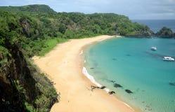 Sancho海滩在费尔南多・迪诺罗尼亚群岛,巴西 库存照片