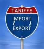 Sanciones de las tarifas para las importaciones y las exportaciones imagen de archivo