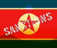Sanciones financieras en el ejemplo de Corea del Norte 3d stock de ilustración