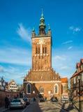 Sanct Catherine; iglesia gótica de s en la ciudad vieja de Gdansk, Polonia foto de archivo