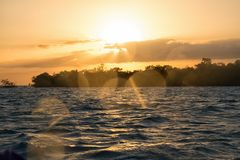 Sancti Spiritus, Cuba: Golden sunset in the Caribbean Sea Royalty Free Stock Images