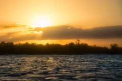 Sancti Spiritus, Cuba: Golden sunset in the Caribbean Sea Royalty Free Stock Photography