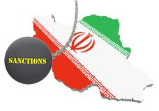 Sanctions against Iran, map of Iran. 3d illustration. Flying steel ball on chain Isolated on white background. Icon Royalty Free Stock Images
