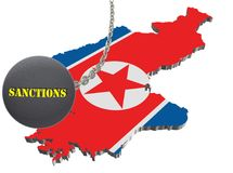 Sanctions against North Korea, map of North Korea. 3d illustration. Flying steel ball on chain Isolated on white background. Icon Stock Photography