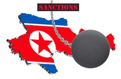 Sanctions against North Korea, map of North Korea. 3d illustration. Flying steel ball on chain Isolated on white background. Icon Stock Photos