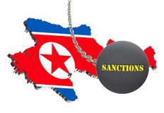 Sanctions against North Korea, map of North Korea. 3d illustration. Flying steel ball on chain Isolated on white background. Icon Royalty Free Stock Photo