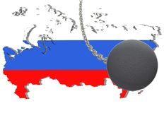 Sanctions against Russia, map of Russia. 3d illustration. Flying steel ball on chain Isolated on white background. Icon Royalty Free Stock Images