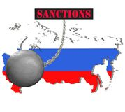 Sanctions against Russia, map of Russia. 3d illustration. Flying steel ball on chain Isolated on white background. Icon Stock Image