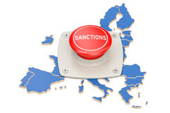 Sanctions button on map of European Union, 3D rendering. Isolated on white background Stock Photo