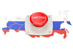 Sanctions button on map of Russia, 3D rendering. Isolated on white background Stock Photography