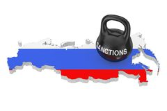 Sanctions Concept. Black Iron Kettlebell with Sanctions Sign ove. R Russia Map with Flag on a white background. 3d Rendering Stock Photography