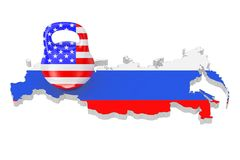 Sanctions Concept. Iron Kettlebell with USA Flag over Russia Map. With Flag on a white background. 3d Rendering Stock Photo