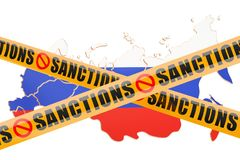 Sanctions concept with map of Russia, 3D rendering. Isolated on white background Stock Photography