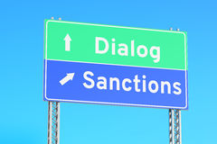 Sanctions or dialog green road signs, 3D rendering Stock Photos