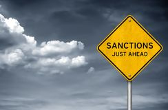SANCTIONS - just ahead. Road sign stock photos