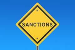 Sanctions road sign Royalty Free Stock Images